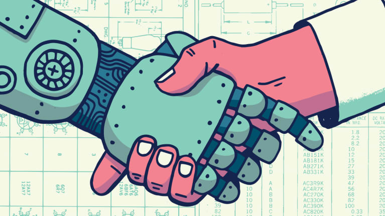 Graphic of a robot and a human shaking hands, agreeing to destroy the world together.