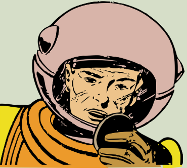 Graphic of a person in an old-styled diving suit.