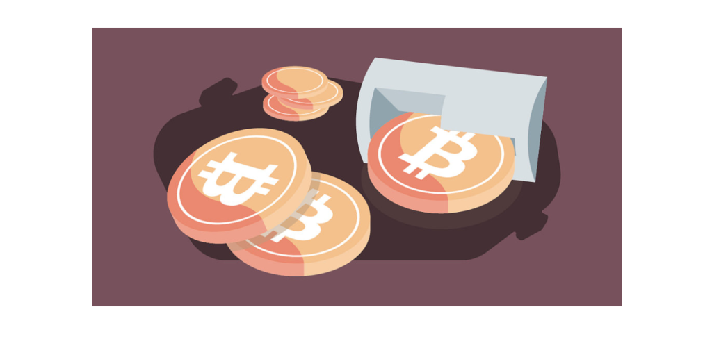 Illustration of bitcoins