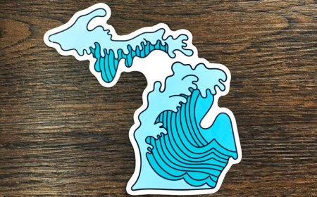 Graphic of blue waves