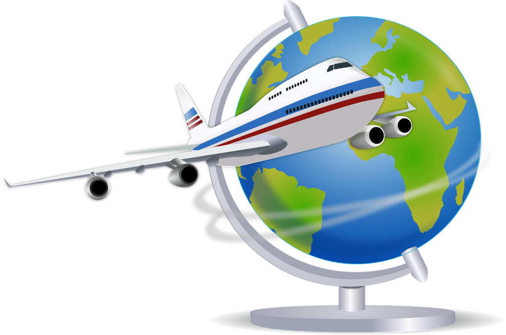 Illustration of a plane flying by a globe