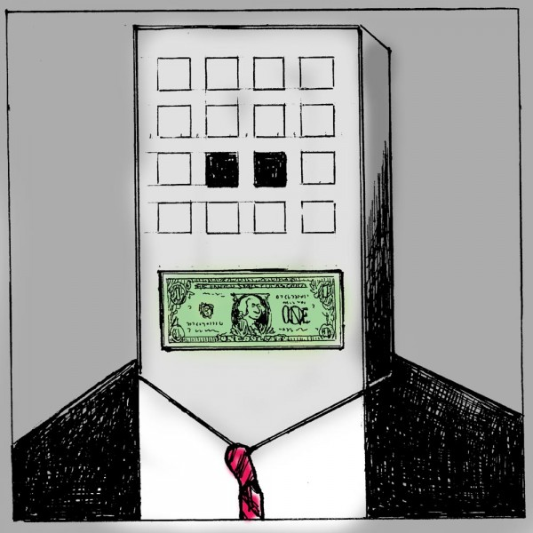 Graphic of a man in a suit, with an office building for a head, and a dollar bill for a mouth.