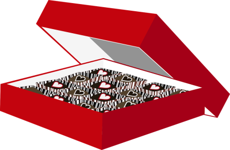 Graphic of a box of Valentine's Day chocolate.
