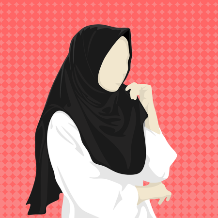 Graphic of a woman wearing a hijab.
