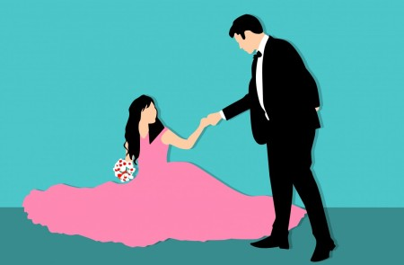Graphic of a woman in a pink gown holding a bouquet sitting on the floor, being offered a hand by a man in a tuxedo.