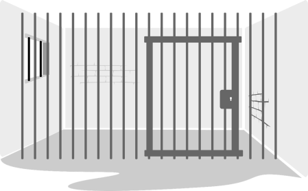 Graphic of an empty prison cell.