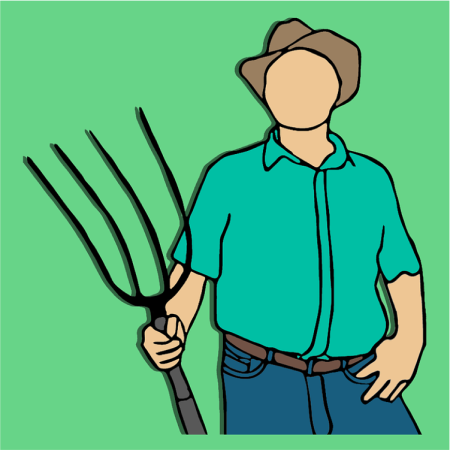 Graphic of a faceless farmer holding a pitchfork.