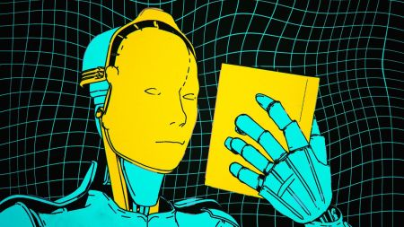 Graphic of a robot with a prosthetic human face, but metallic body, reading a book.