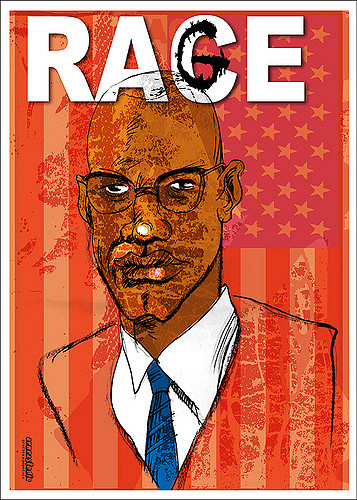 "Illustration of Malcolm X superimposed over an American flag. The word ""race"" is printed above, with a graffiti style G drawn over the C."