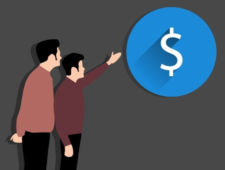 Graphic of two men, one is pointing at dollar symbol.