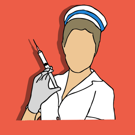 Illustration of a female nurse holding a syringe