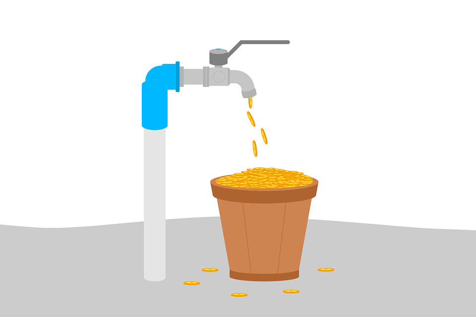 Graphic of a faucet dispensing gold coins into a bucket.