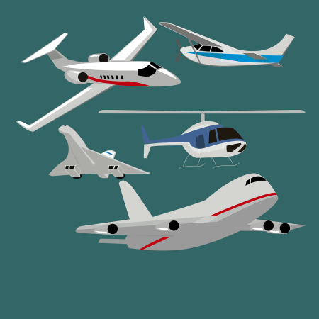 Graphic of different air-worthy vehicles.