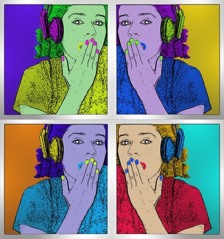 Four versions of illustration of a woman gasping with headphones, in four different colors