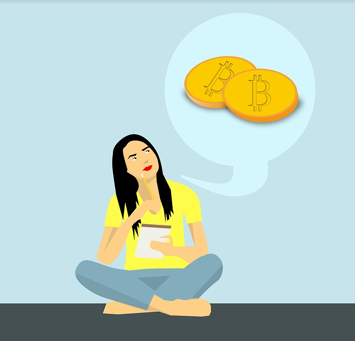 Graphic of a woman sitting cross-legged, with a thought bubble of the bitcoin icon.