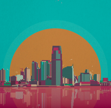 Graphic of a cityscape in front of an enlarged moon, reflected in a pink body of water.
