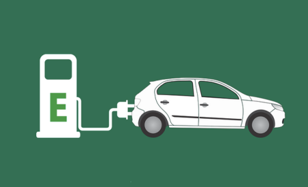 Graphic of a car being electronically charged.