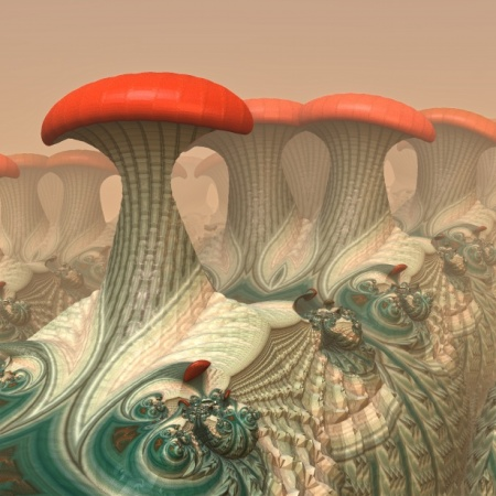 Psychedelic graphic of red capped mushrooms, draped in regal attire.