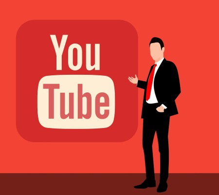 Illustration of man in professional attire pointing to youtube logo in a red wall