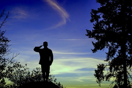Illustration of a male silhouette standing in a mountain, looking at the sky, saluting