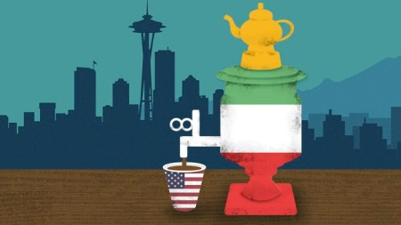 A carafe with the colors of the Italian flag pouring coffee into an American flag cup.