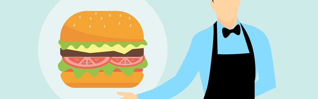 Graphic of a waiter holding a giant burger.