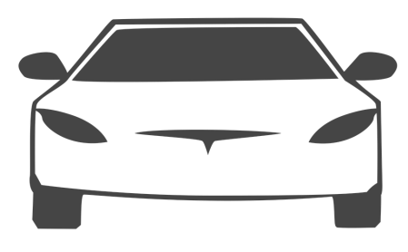 Graphic of a Tesla car.