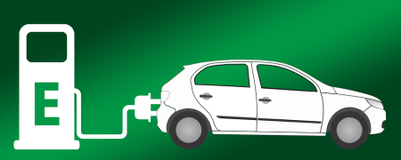 Graphic of an electric vehicle charging.