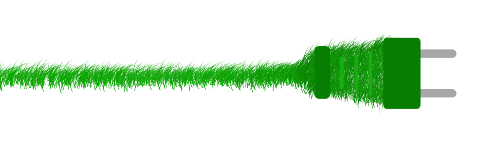 Graphic of a power cord covered in grass.
