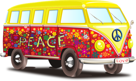 Graphic of a VW bus painted with peace signs and flowers.