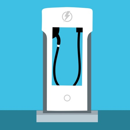 Graphic of an electric car charging station.