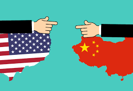 an illustration of American and Chinese flags