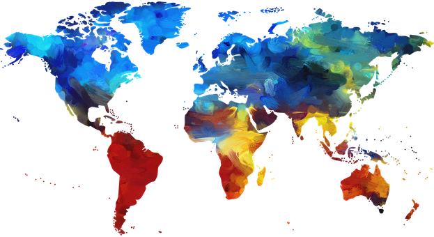 Graphic of a world map.