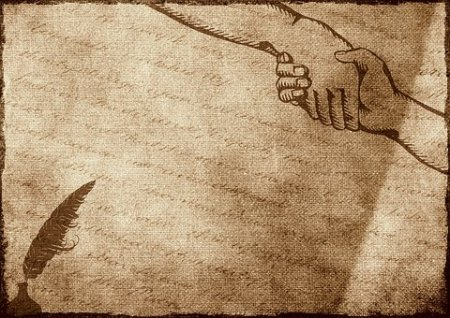 Sketch of a piece of parchment with an inkblot in the bottom left corner, and a drawing of a handshake in the opposite corner.