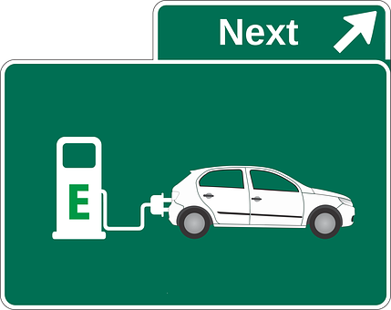Graphic of an exit sign featuring an electric car charging station.