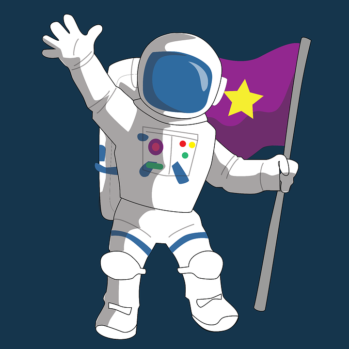 Graphic of an astronaut holding a flag.