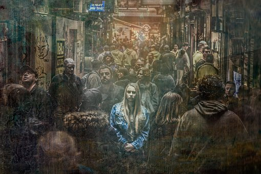 Colored pencil drawing of a young woman in a crowded alley, with a spot light on her.