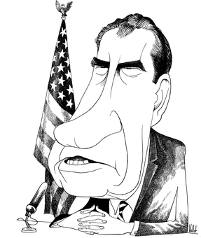 Political cartoon of president Richard Nixon with a long face.