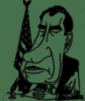 Political cartoon of president Richard Nixon with a long face.