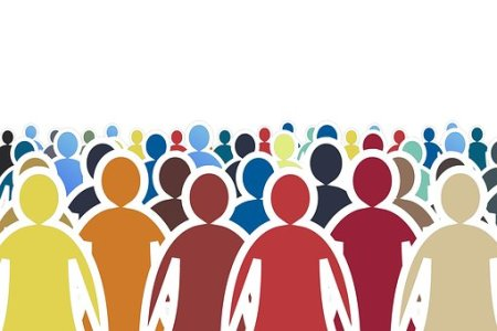 Graphic of a crowd of multi-colored people